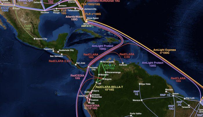 Latin America R&E Network map